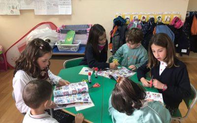 Los alumnos/as de 6º de Primaria ayudan a los niños/as de Educación Infantil a escribir la carta a los Reyes Magos