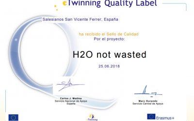 """eTwinning concede el Sello de Calidad Nacional al proyecto vinculado a Erasmus+ """"H2O Not wasted"""""""