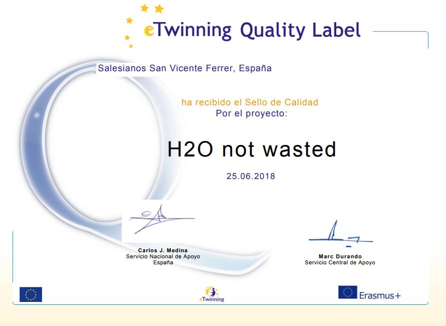 eTwinning concede el Sello de Calidad Nacional al proyecto vinculado a Erasmus+ «H2O Not wasted»